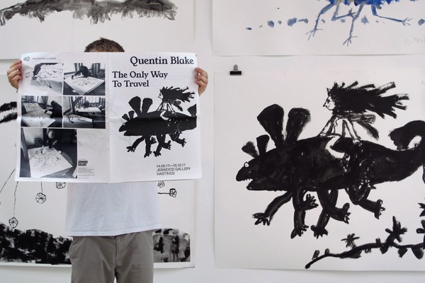 """Quentin Blake """"The Only Way to Travel"""" exhibition newspaper."""