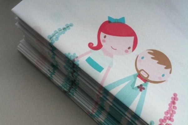 Lydia and Jamie's newspaper wedding invitation by Studio Binky