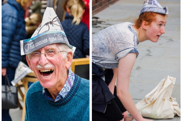 Newspaper hat making workshop with Victoria Street Press at Street pARTy in Morecambe